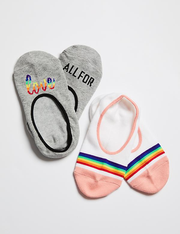 No-Show Socks 2-Pack - All For Love & Rainbow