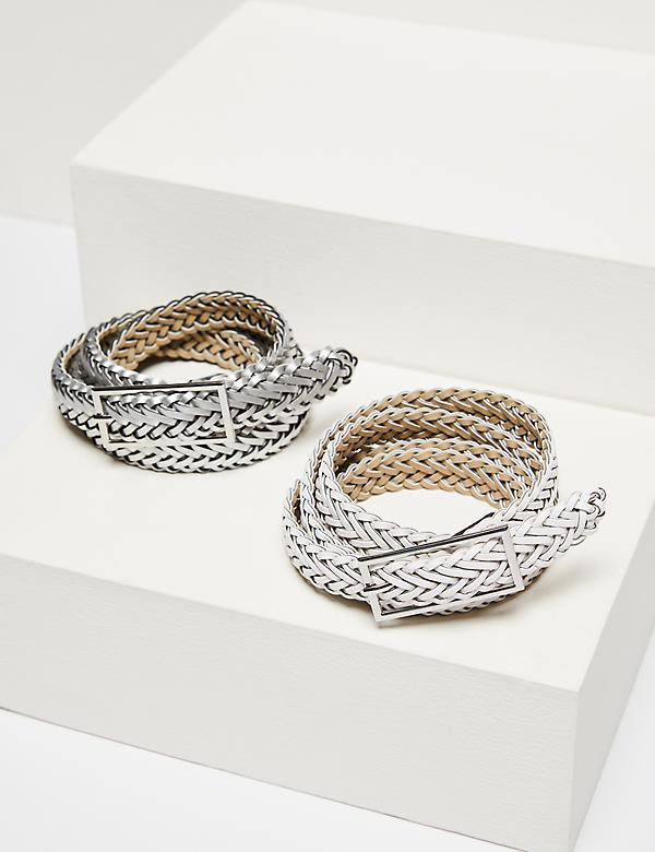 Braided Belt 2-Pack - White & Silver