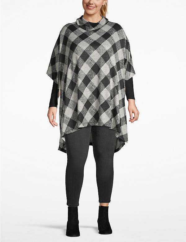 Cozy Touch Plaid Cowlneck Poncho