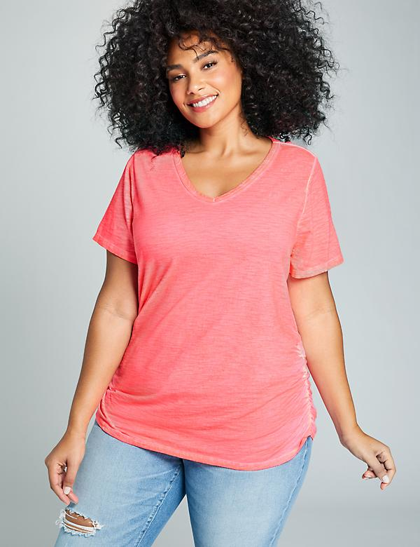 V-Neck Ruched Side Tee