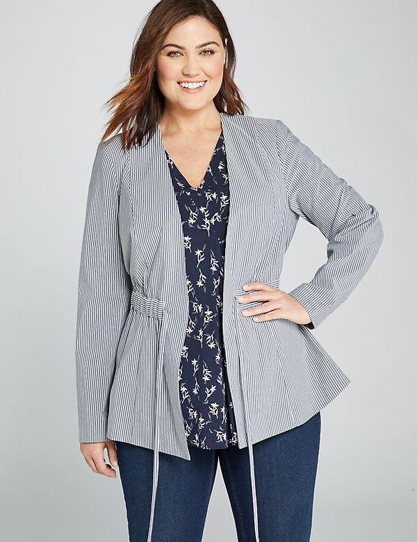 Textured Stripe Drawstring Peplum Jacket