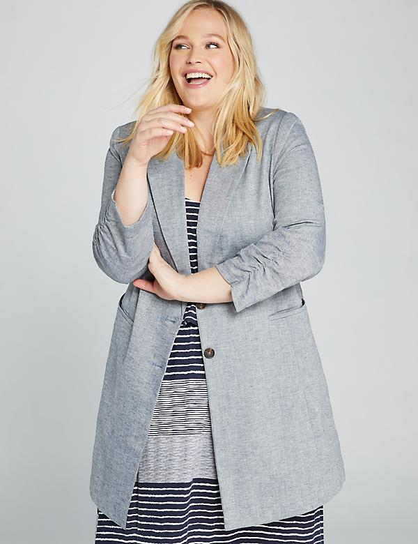 Long Ruched-Cuff Chambray Blazer