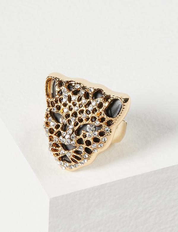 Jeweled Leopard Statement Ring