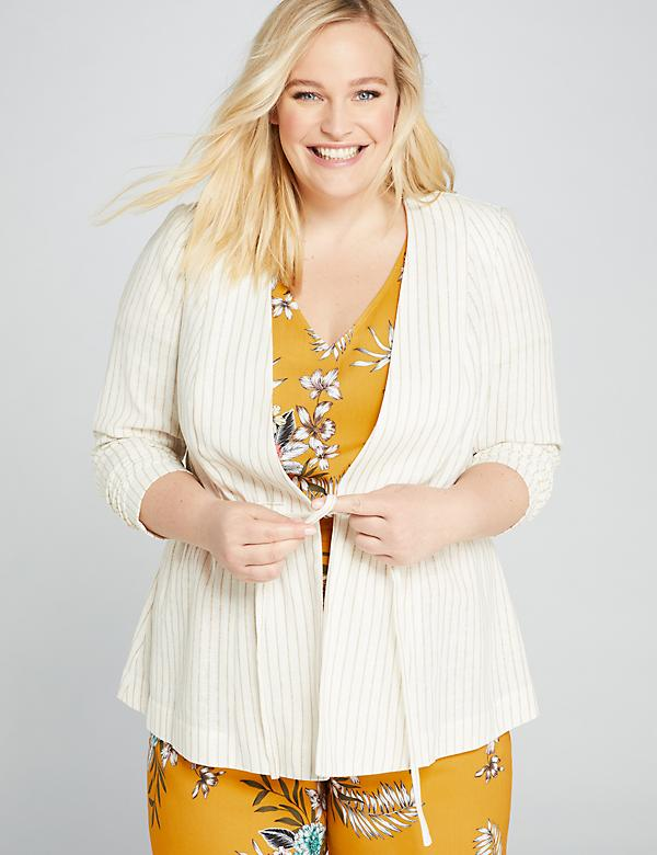 Striped Drawstring Peplum Jacket