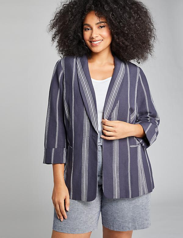 Striped Shawl-Collar Blazer
