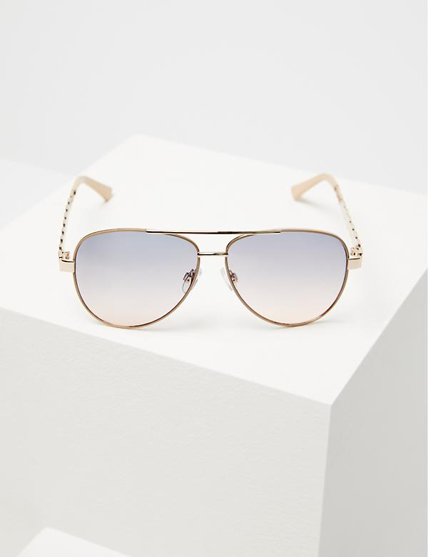 Metal Aviator Sunglasses with Braided Arms