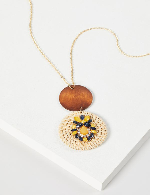 Double-Circle Raffia Pendant Necklace