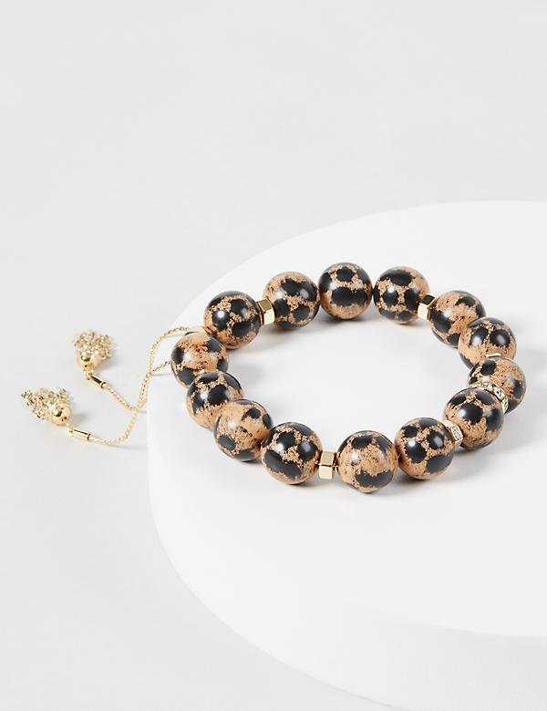 Leopard Print Beaded Adjustable Bracelet
