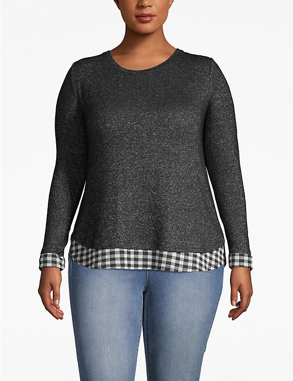 Cozy Touch Plaid Trimmed Top