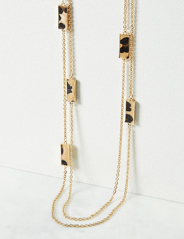 Multi-Layered Leopard Print Necklace