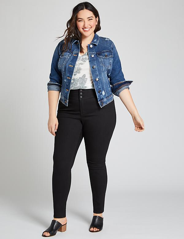High-Rise 3-Button Jegging - Black