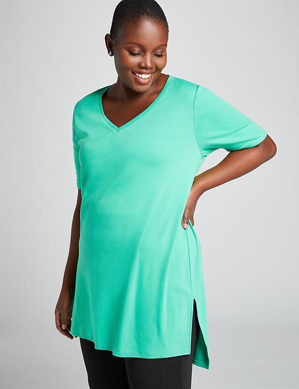 Perfect Sleeve Step-Hem Tunic Top