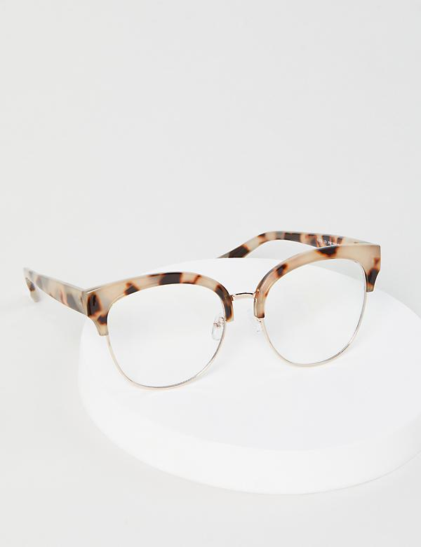 Half-Frame Tortoise Print Cateye Glasses - Blue Light Blocking