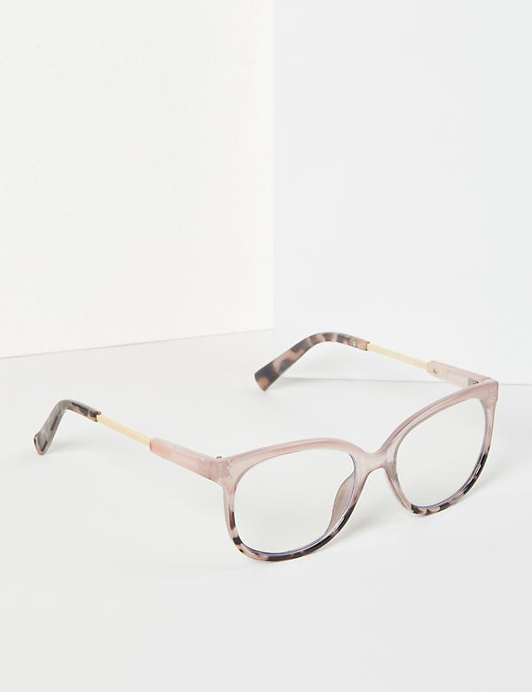 Pink & Tortoise Print Square Glasses - Blue Light Blocking