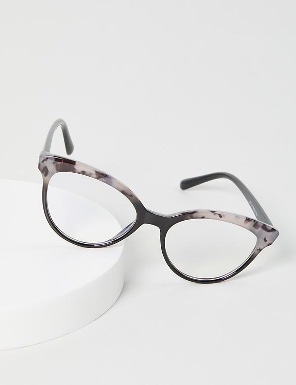 Tortoise Print & Black Cateye Glasses - Blue Light Blocking