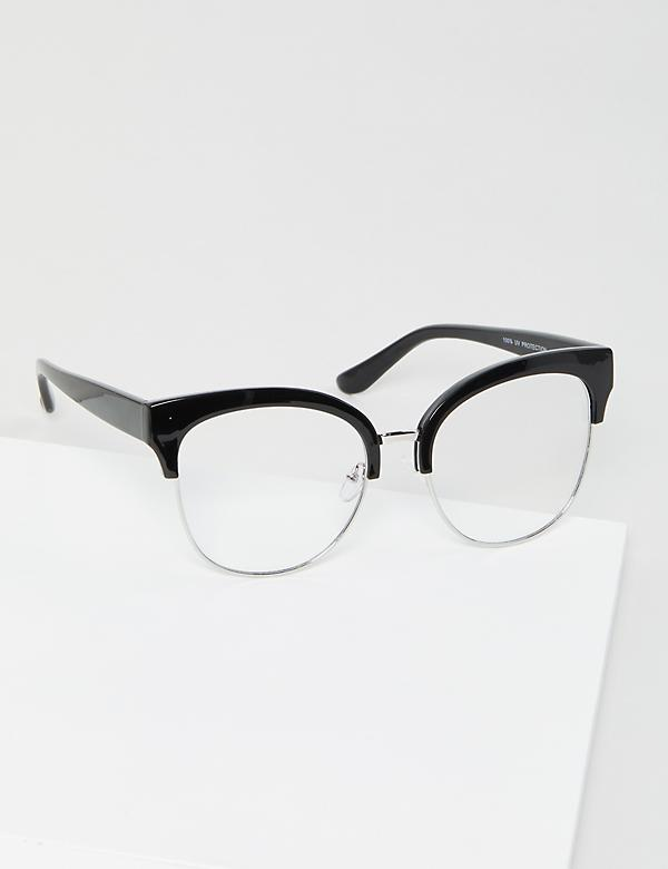 Half-Frame Black Cateye Glasses - Blue Light Blocking