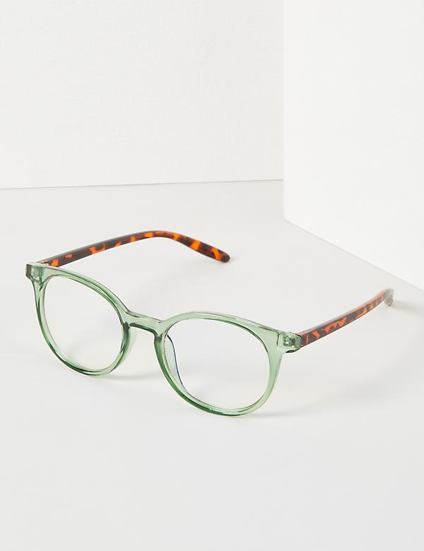 Round Glasses With Tortoise-Print Arms - Blue Light Blocking