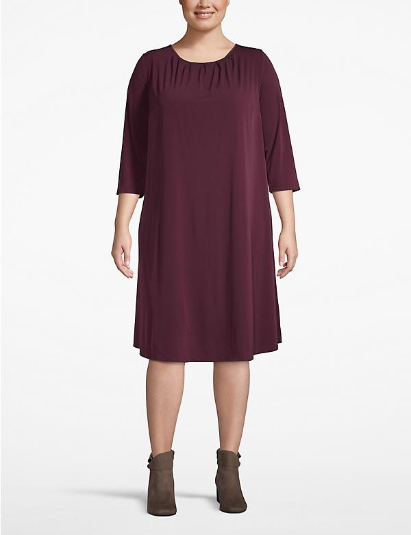 Pleat-Neck Swing Dress
