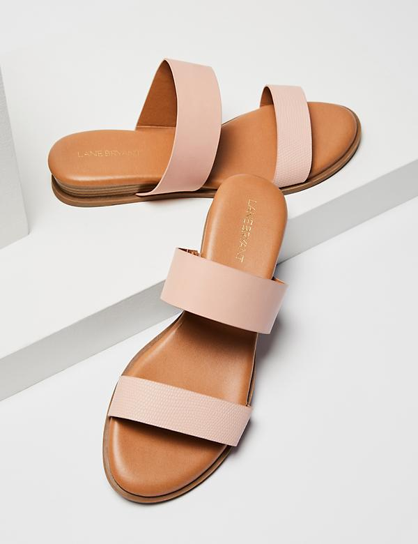 Textured Double Strap Slide Sandal - Blush