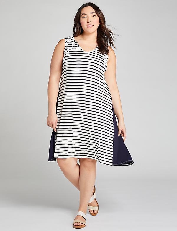 LIVI Striped Sleeveless Hoodie Dress