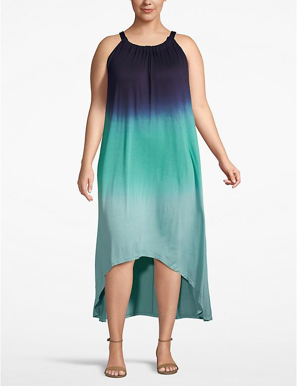 Ombre Dip-Dye High-Low Maxi Dress