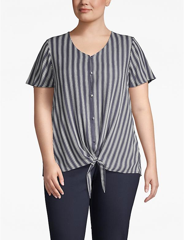 Striped Tie-Front Top