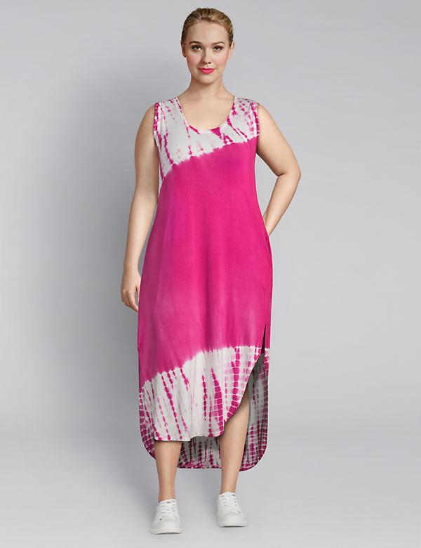 LIVI Tie-Dye Maxi Dress With Crossover Back Detail
