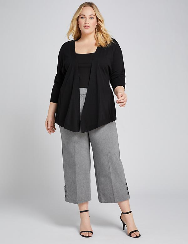 Power Pockets High-Rise Wide Leg Crop With Button Hem