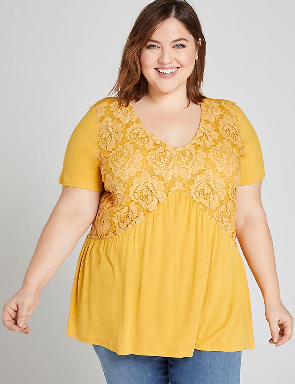 Lace-Yoke Swing Top