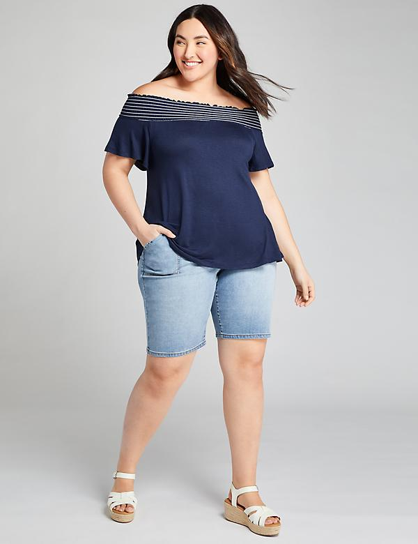 Signature Fit Boyfriend Denim Bermuda Short - Medium Wash