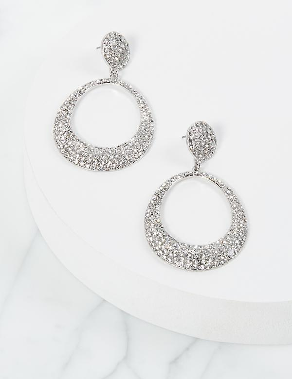 Pave-Embellished Drop Earrings