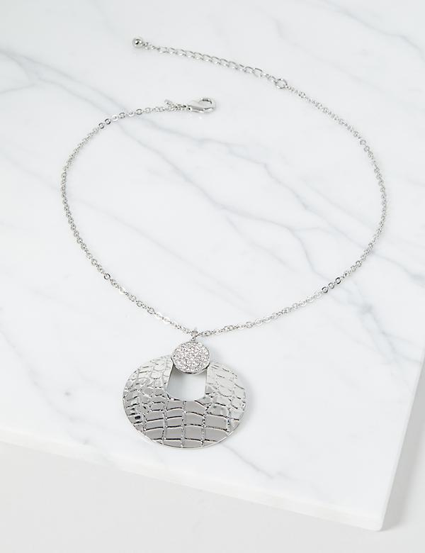 Snake-Print Pendant Chain Necklace