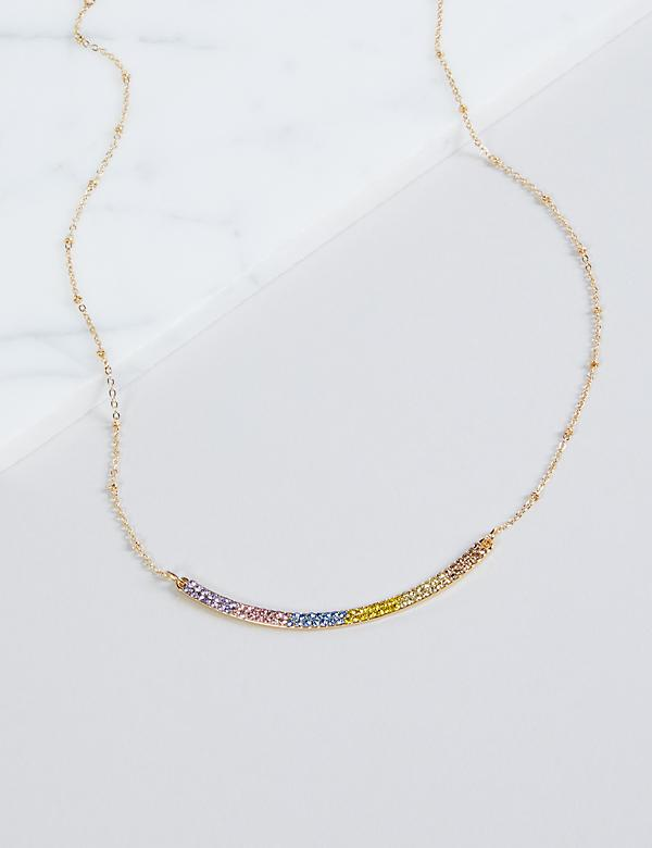 Pave Bar Necklace - Rainbow