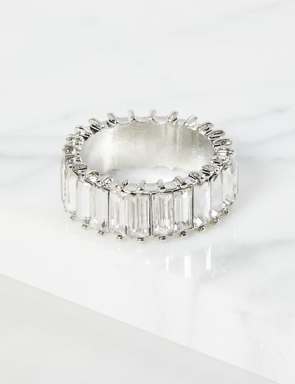Baguette Faceted Stone Ring - Clear