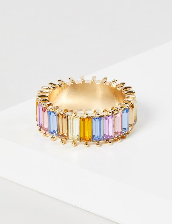 Baguette Faceted Stone Ring - Rainbow