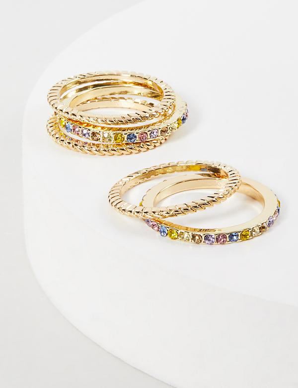 Faceted Stone & Twisted Rings 5-Pack - Rainbow