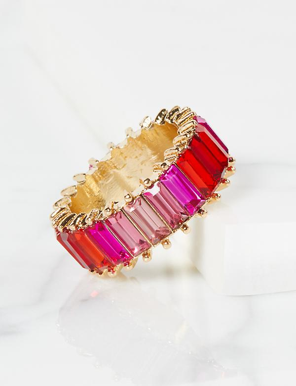 Baguette Faceted Stone Ring - Ombre Pink