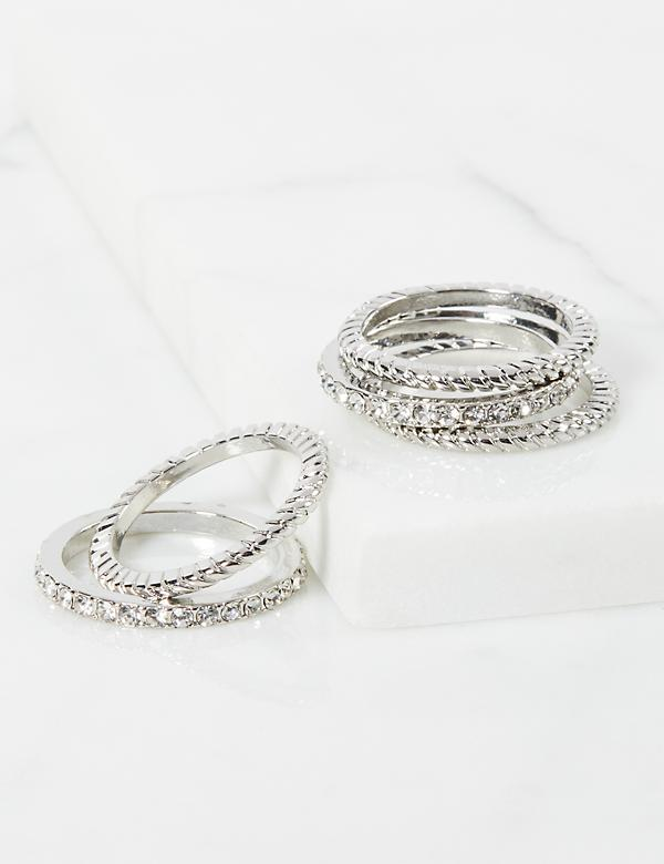 Faceted Stone & Twisted Rings 5-Pack - Clear