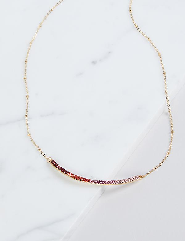 Pave Bar Necklace - Red