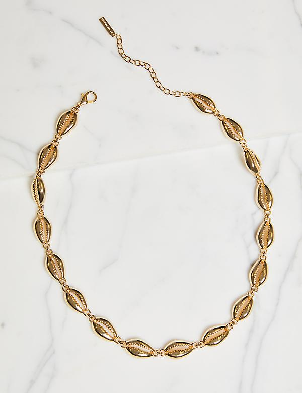 Beaded Shell Necklace - Goldtone