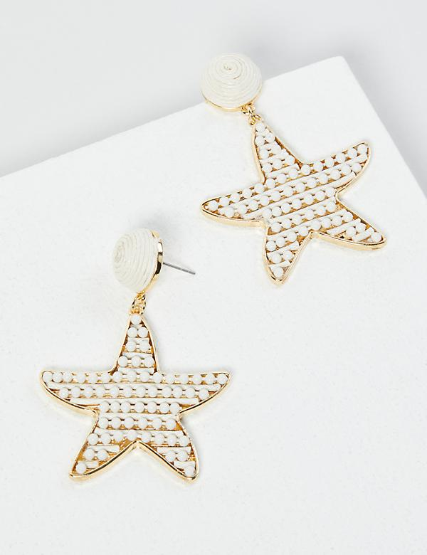 Beaded Starfish Drop Earrings