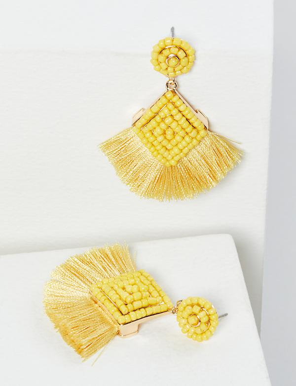 Beaded Fringe Drop Earrings - Yellow