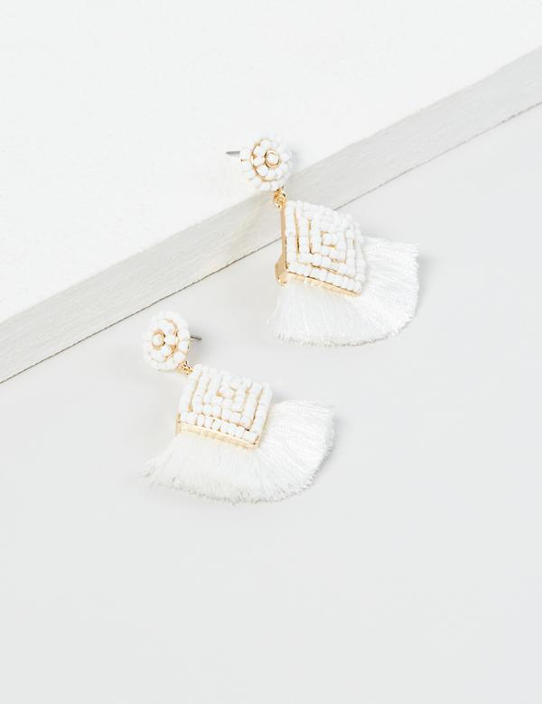 Beaded Fringe Drop Earrings - White