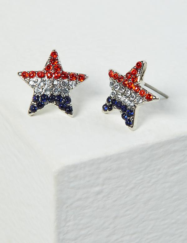 Americana Pave Star Stud Earrings