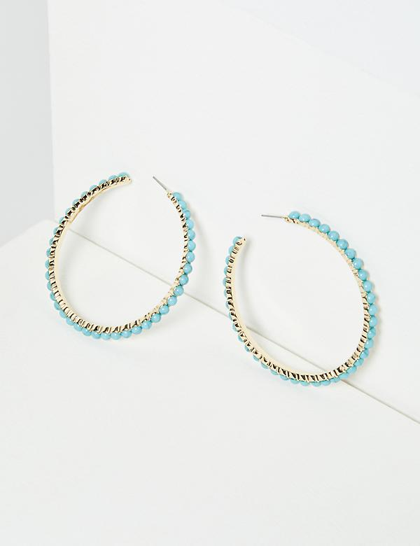 Beaded Inset Hoop Earrings