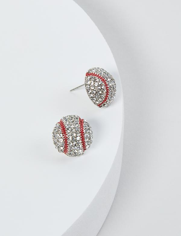 Baseball Pave Stud Earrings