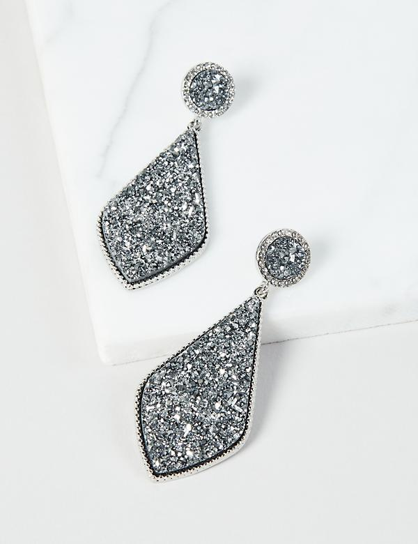 Faux-Druzy Drop Earrings - Silver