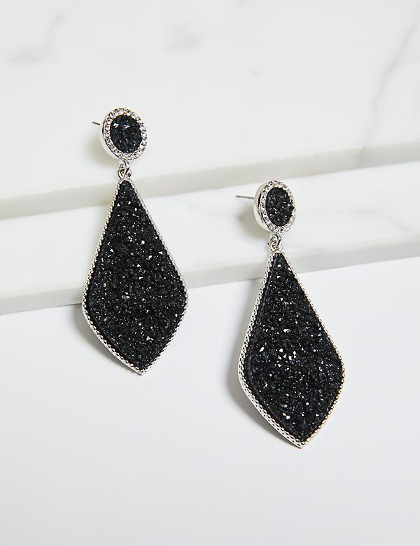 Faux-Druzy Drop Earrings - Black