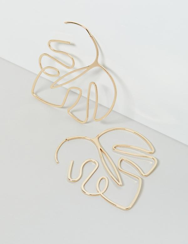Palm Wire Earrings - Goldtone