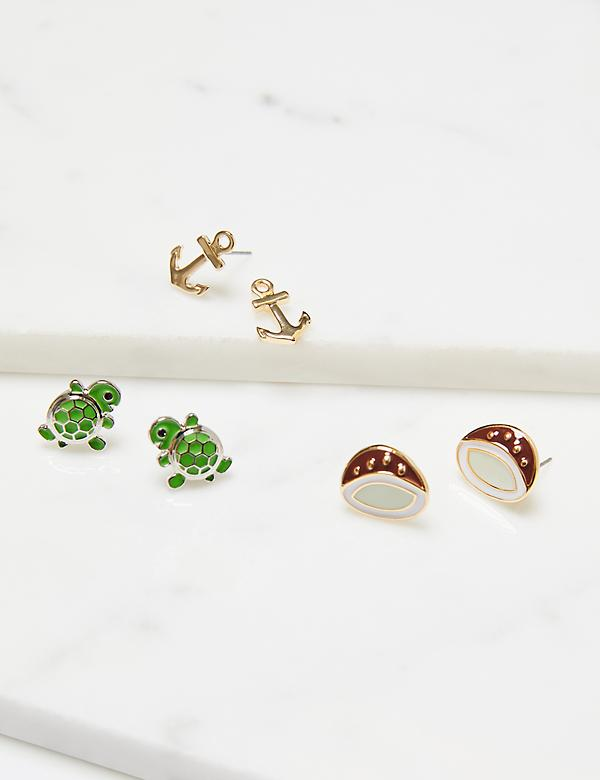 Stud Earrings 3-Pack - Coconuts & Turtles